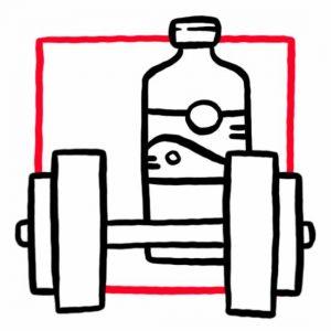 Illustration einer Kurzhantel und einer Trinkflasche als Symbol für einen Fitnessraum