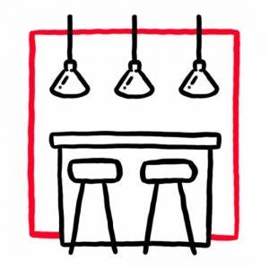 Illustration einer Theke mit zwei Barhockern und drei Lampen als Symbol für die Bar