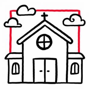 Illustration einer Kapelle mit Wolken als Symbol für Kapelle