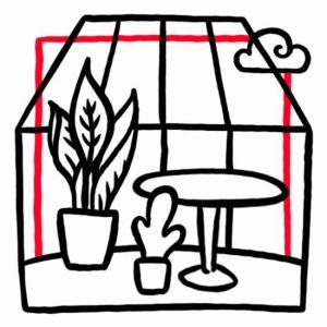 Illustration von Pflanzen in einem Glashäuschen und einer Wolke außen als Symbol für den Wintergarten