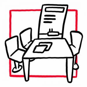 Illustration eines Tisches mit drei Stühlen und einer Tafel als Symbol für den Seminarraum