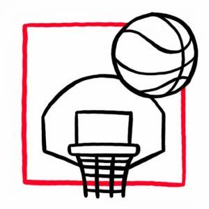 Illustration eines Basketballs mit Basketballkorb als Symbol für den Sportplatz