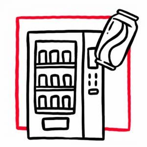Illustration eines Getränkeautomaten mit einer Getränkedose als Symbol für den Getränkeautomaten