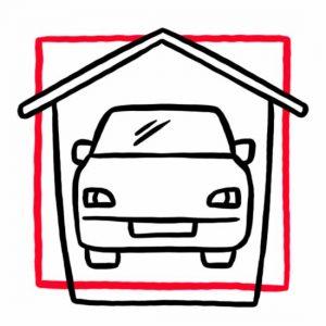 Illustration eines Autos in einem Häuschen als Symbol für die Garage