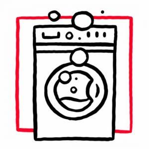 Illustration einer Waschmaschine als Symbol für die Waschküche