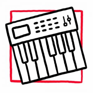 Illustration eines Keyboards als Symbol für den Musikraum