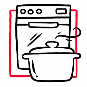 Illustration eines Herdes mit Kochtopf als Symbol für die Küche