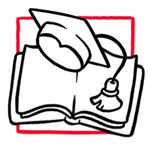 Illustration eines Buches mit Doktorhut als Symbol für den Lernraum