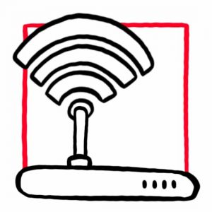 Illustration eines WLAN Routers als Symbol für Internet