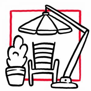Illustration eines Sessels mit Topfpflanze und Sonnenschirm als Symbol für die Terrasse