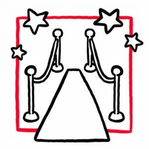 Illustration eines roten Teppichs (wie bei einer Gala) als Symbol für den Festsaal