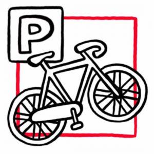 """Illustration eines Fahrrades mit einem Schild auf dem ein """"P"""" für """"Parken"""" abgebildet ist als Symbol für den Fahrradraum"""